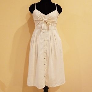 Sky and Sparrow Knot Button Front Cream Linen Midi